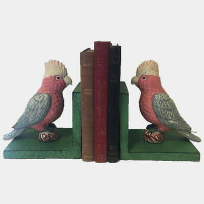 Cast Iron Galah Bookends - Hand Painted Bird with Green Base Book Ends - New