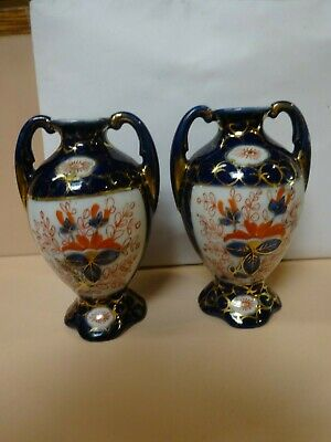 Antique pair of identical IMARI vases.12 cm high.Made in Japan.