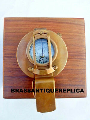 Brass Compass Military Engineering Prismatic Vintage Style Handmade Wooden Box