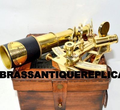 Royal Sextant Leather Box Brass Telescope Handheld Antique Nautical Style