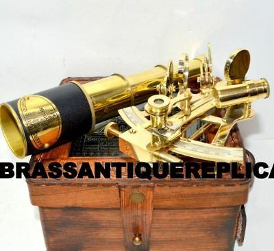Collectible Sextant Leather Box Brass Telescope Handheld Antique Nautical Style
