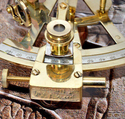 "4"" Solid Brass Sextant Nautical MARINE Instrument Astrolabe Ship Gift"