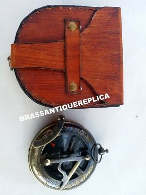 Brass Nautical ANTIQUE BLACK Sundial PUSH BUTTON Compass With Leather Case