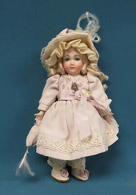 """Antique Reproduction Fully Jointed 7"""" All Bisque French Doll Very Nice!"""