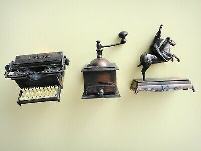 Vintage 3 x Die Cast Metal  Pencil Sharpeners Coffee Grinder Knight Typewriter.