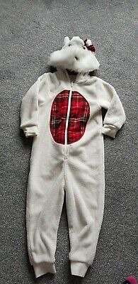 Next Age 3 Years Cream Fluffy Hooded Westie Dog one piece sleep suit.