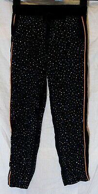 Girls H&M Black Multi Sparkly Studded Viscose Xmas Party Trousers Age 7-8 Years
