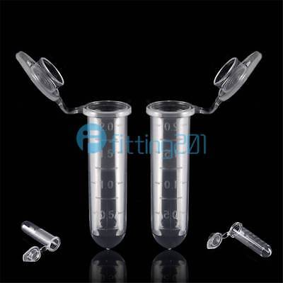 100pcs New 2ml Micro Centrifuge Tube Vial Clear Plastic Vials Container Snap Cap