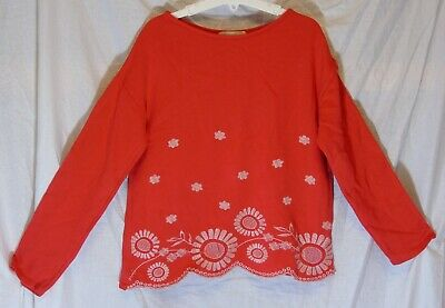 Girls Zara Red White Embroidered Flowers Fancy Hem Sweater Jumper Age 9-10 Years