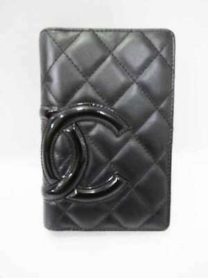 Auth CHANEL Cambon Line Agenda Notebook Cover Black