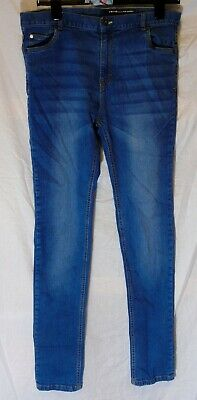Boys V by Very Mid Blue Whiskered Denim Super Skinny Stretch Jeans Age 16 Years