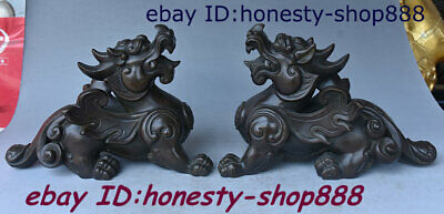 "10"" Chinese Copper Bronze Feng shui Pixiu Brave troops Unicorn Beast Statue Pair"