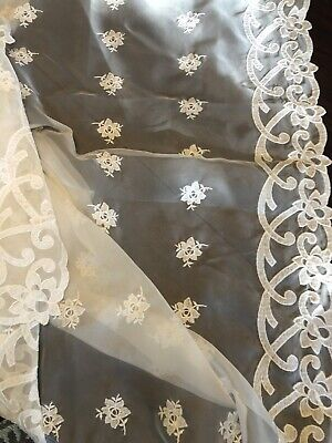 Beautiful Sheer Organza Tablecloth With Applied Embroidery And Appliqué Roses