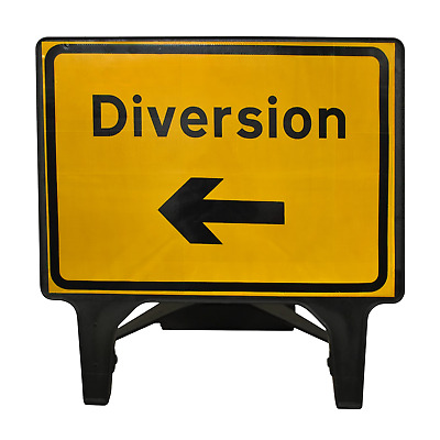 Diversion Left - 1050 x 750mm Road Traffic Safety Sign - BRAND NEW