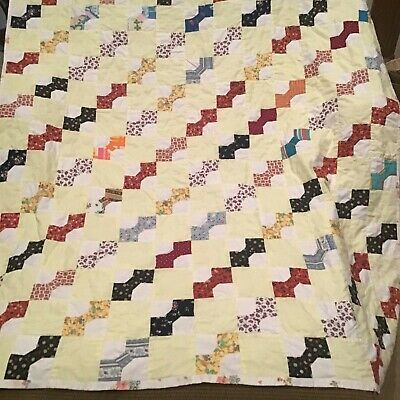 """Vtg Hand Stitched Bow Tie Hand Made Cotton Quilt 52"""" by 66"""""""