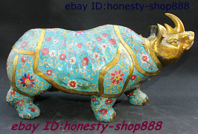 "17"" China Bronze Cloisonne Enamel Fengshui Animal Xi Ox Rhinoceros Wealth Statue"