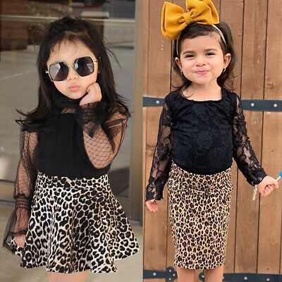 Toddler Baby Girl Mesh Sleeve T-shirt Lace Tops Leopard Skirt Tutu Dress Outfits