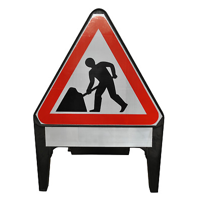 Men At Work with Blank Supplementary Plate 750mm Road Traffic Sign