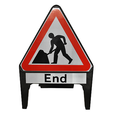 Men At Work with End Supplementary Plate 750mm Road Traffic Sign