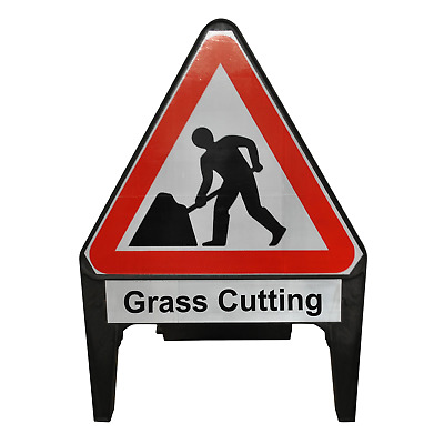 Men At Work with Grass Cutting Supplementary Plate 750mm Road Traffic Sign