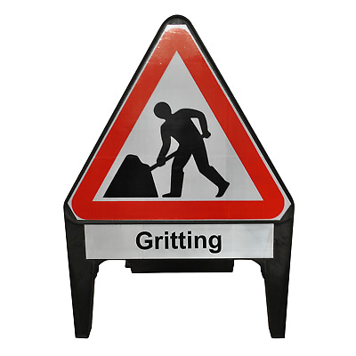 Men At Work with Gritting Supplementary Plate 750mm Road Traffic Sign