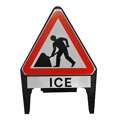 Men At Work with Ice Supplementary Plate 750mm Road Traffic Sign