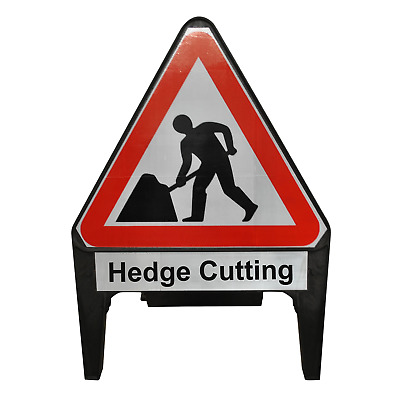 Men At Work with Hedge Cutting Supplementary Plate 750mm Road Sign