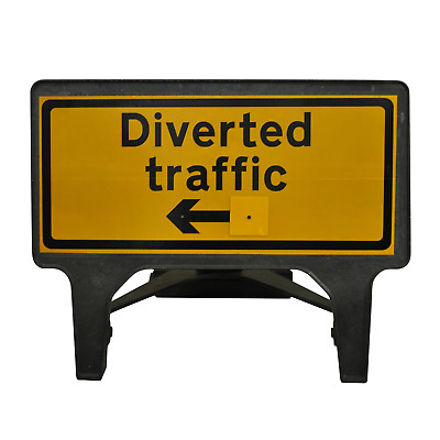 Diverted Traffic Reversible - 1050 x 450mm Road Traffic Management Safety Sign