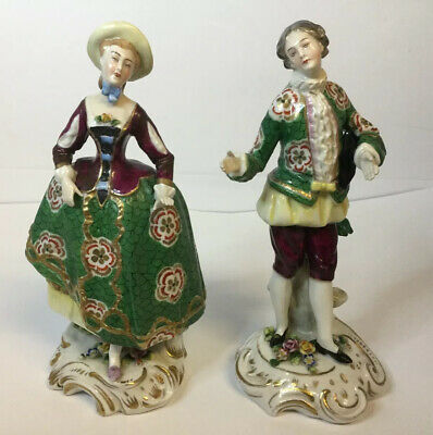 "Pair Antique Sitzendorf Porcelain Figures / Figurines, German 7.5"" Tall (19cm)"
