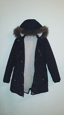 Girls Black Parker Hooded Coat Fully Cream Faux Fur Lined Age 11-12