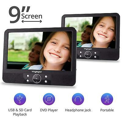 """Voyager In Car DVD Twin Headrest 9"""" Inch Screen Portable Player"""