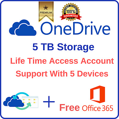 5TB OneDrive Account + Free Office 365 ProPlus Support 5 Devices Lifetime Access
