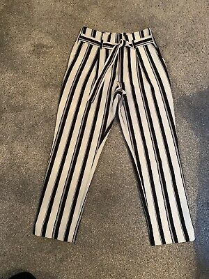 Girls River  Island Black And White Stripe Trousers Age 9-10