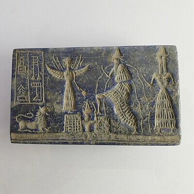 Very Old Lapis Near Eastern King Gods Inscription Intaglio Carved Relief #262