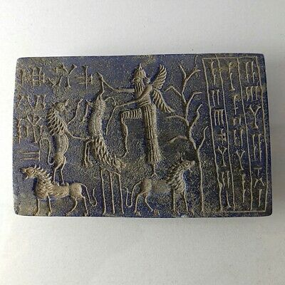 Very Old Near Eastern Lapis Winged Hero Inscription Intaglio Carved Relief #263