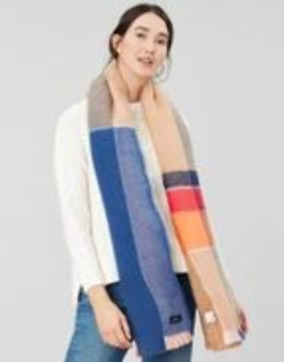 Joules Ladies Stamford Check Scarf Tan Check