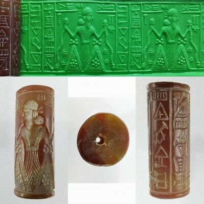Sassanian Carnelian Agate Bead King Seal Old Beauty Roll Cylinder Intaglio #268