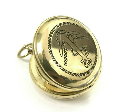 """Nautical 2"""" Solid Brass """"Stanley London"""" Engraved Working Anchor Compass"""