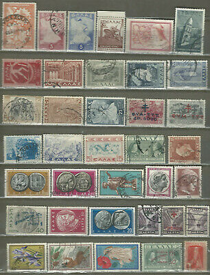 Greece Greek 37 Old Used Stamps Up 1961 (105)