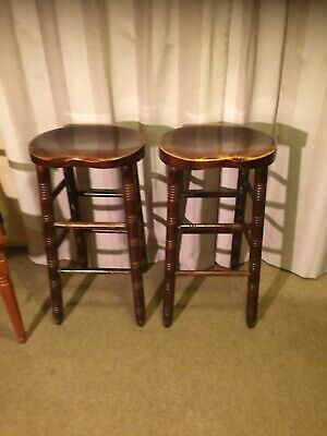 Pair Of Vintage Solid Oak Bar Stools -Collection Only