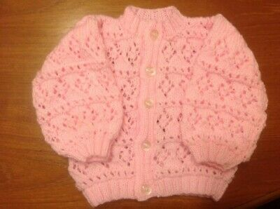 Hand knitted pink baby cardigan, 3-6 months new, Posted Recorded Delivery