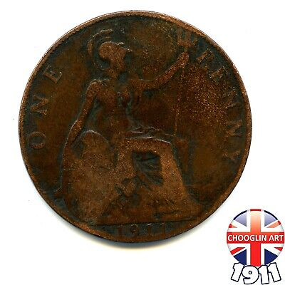 A 1911 British Bronze GEORGE V PENNY 1d coin