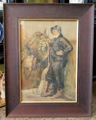Antique 19Th Century Maritime Watercolor Under Glass In Tiger Oak Frame