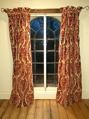 RED GOLD CURTAINS 240cm DROP, EACH CURTAIN 86cm WIDE, lined