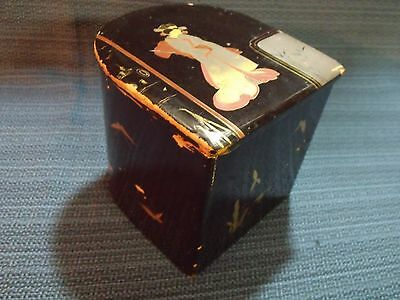 19Th Century Chinese Hand Painted Geisha Neck Pillow Black Laquered Wood Box