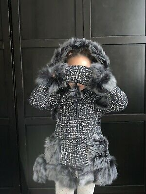 Girls Stunning Shearling Coat With Boucle Design