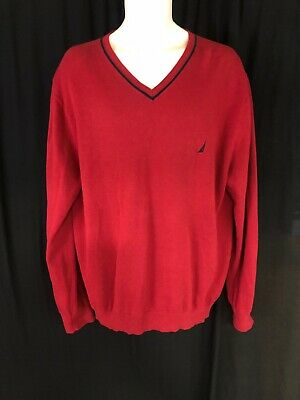 New Men's Size Xl Nautica Red Jersey Cotton Navtech V-Neck Long Sleeve Sweater