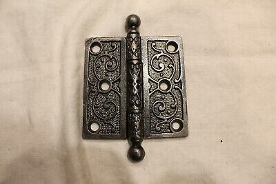 """Ornate Cast Iron Cannonball (Ball) Tipped Victorian Eastlake 3-1/2"""" Hinge"""