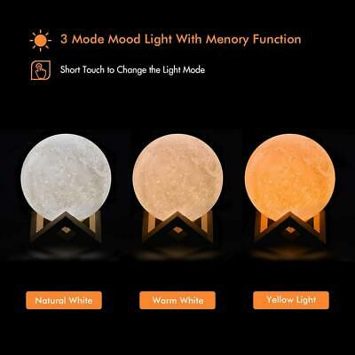 3D Printing Moon Lamp USB LED Night Lunar Light Moonlight Touch 3 Color Changing