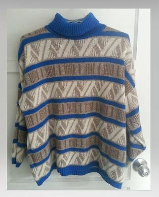 Retro A Benedetto Sweater Size Large Royal Blue Brown 100% Acrylic Women's